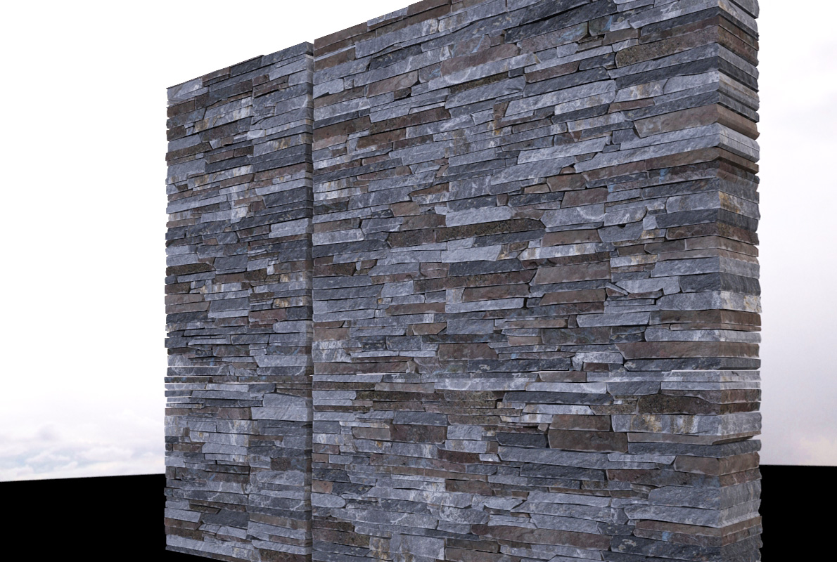 Stone wall modelled and textured piece by piece