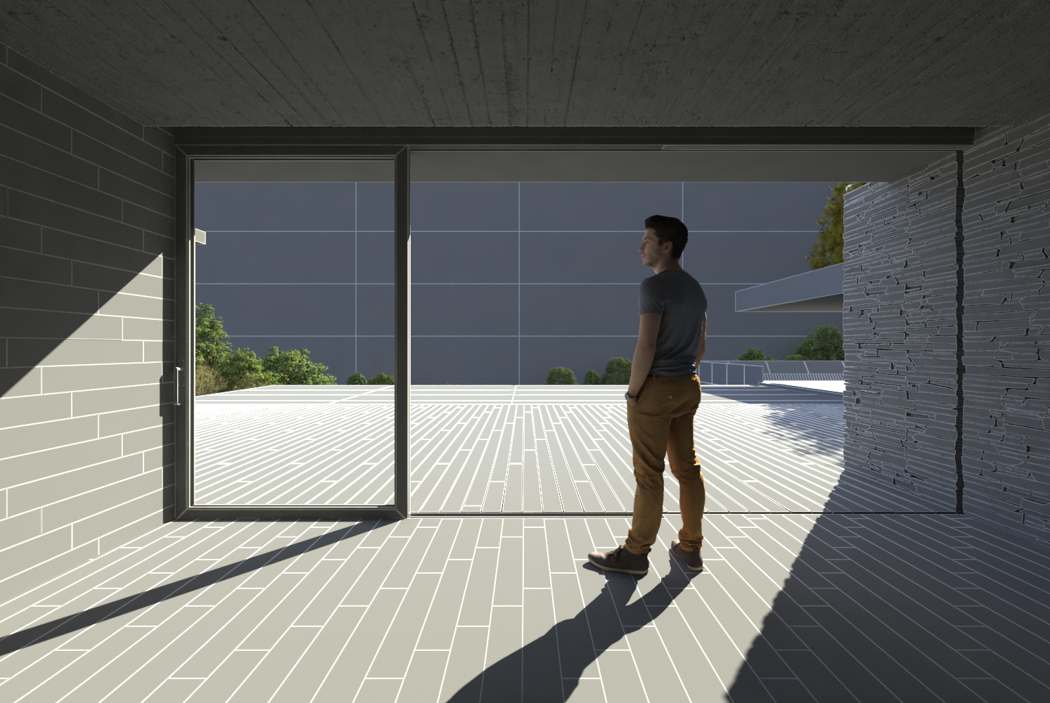 """Modeling and Lighting stage integrading 3D plants and 3D human model in the \""""Plane House\"""" model (grey texture)"""