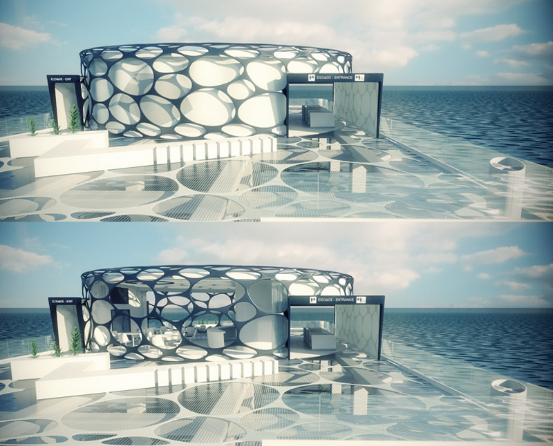 Exterior views from deck (unfolded and folded membrane)